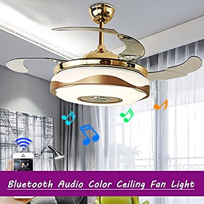 LED Invisible Ceiling Fan Light Modern Dining Room Fan Chandelier Lamp for Restaurant, Study Room, Living Room, Bed Room