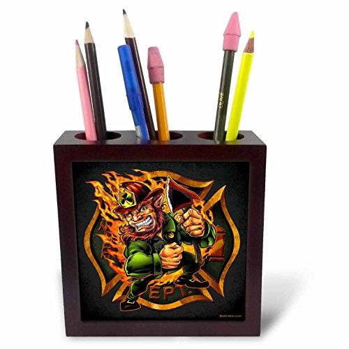 3dRose Light, mascot , Illustration - Leprechaun firefighter logo - 5 inch tile pen holder (ph_252448_1)