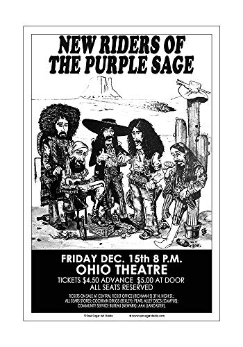 Raw Sugar Art Studio New Riders of The Purple Sage 1972 Columbus Concert Poster (New Riders Of The Purple Sage Gypsy Cowboy)