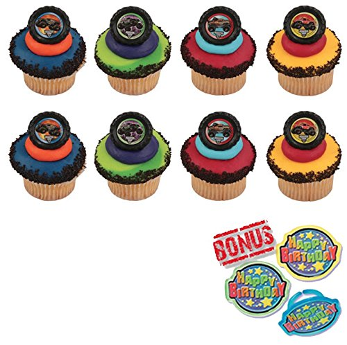 Monster Jam Car Crushing Cupcake Toppers and Bonus Birthday Ring - 25 -