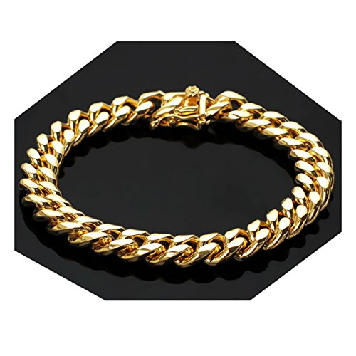 Gold Filled 14kt Diamond cut Cuban Link Chain Bracelets 14MM Warrantied USA Made! (8) ()