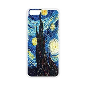 Van Gogh Series,iPhone 6 Case,Van Gogh Art Detail of the Painting Starry Night Phone Case For iPhone 6[White]