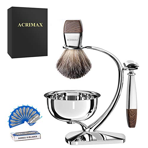 ACRIMAX Deluxe Shave Kit for Men, Pure Badger Shaving Brush, Manual Safety Razor Kit with 10 Blades, Stainless Steel Shaving Brush & Razor Stand with Soap Bowl, Perfect Shaving Gifts Set for Men