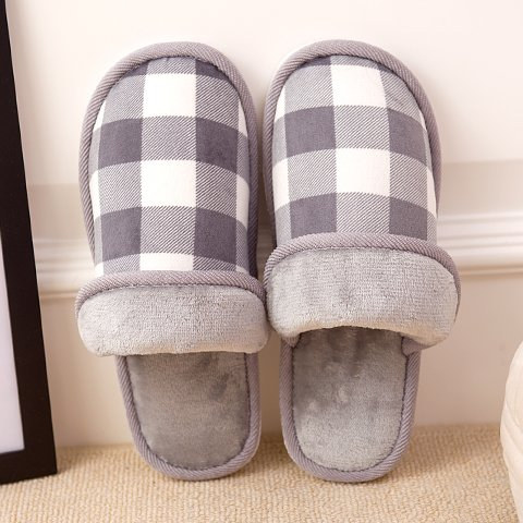 LaxBa Femmes Hommes chauds dhiver Chaussons peluche antiglisse intérieur Cotton-Padded Shoeslight Slipper44-45 gris (43-44 pieds)