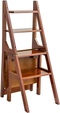 SGMYMX Escalera Silla de Escalera de Cuatro peldaños, Escalera de conversión de Biblioteca Plegable Escalera (Color : Brown): Amazon.es: Hogar