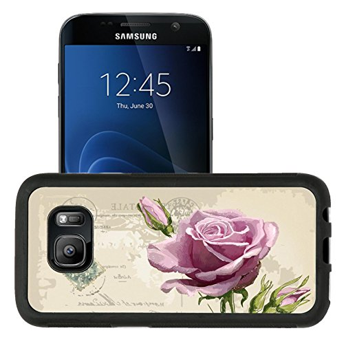Liili Premium Samsung Galaxy S7 Aluminum Snap Case vintage postcard with a beautiful rose hand drawing IMAGE ID 16592451 ()