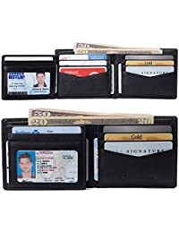 RFID Protected Mens Spencer Leather Bifold Wallet 2 ID Windows Divided Bill Section Comes in Gift Box York Collection Black