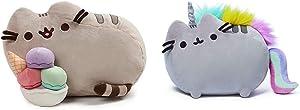 "GUND Pusheen Snackables Sundae Cat Plush Stuffed Animal, Gray, 12"" Bundle Pusheenicorn Plush Stuffed Animal Rainbow Cat Unicorn, 13"""