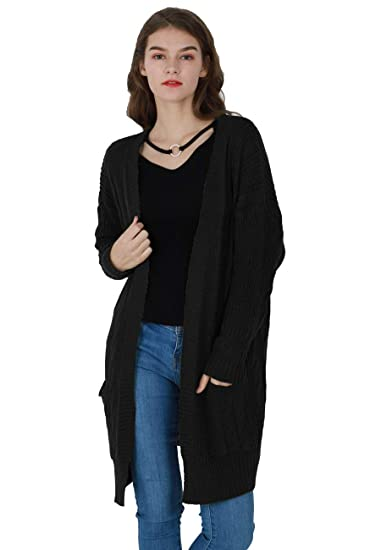 531e970e9c OMZIN Ladies 2018 Plus Size Long Sleeve Knit Cardigan Sweater Two Pockets  Black L