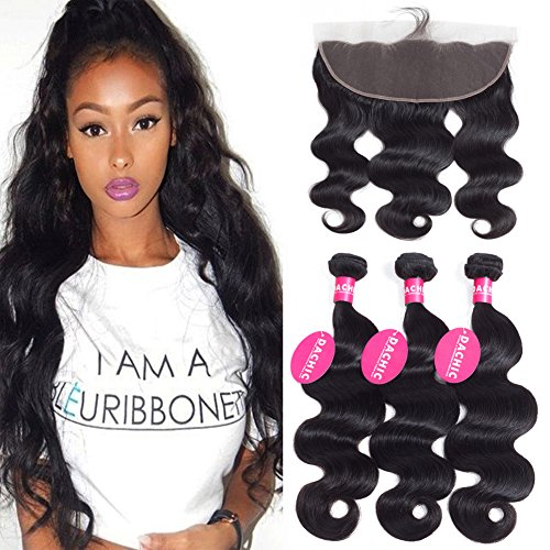 DACHIC Brazilian Body Wave 3 Bundles with Frontal Closure 13x4 Ear to Ear Lace Frontal with Bundles 7A Brazilian Virgin Human Hair Bundles with Frontal Unprocessed Human Hair Extensions (10 12 14+10)