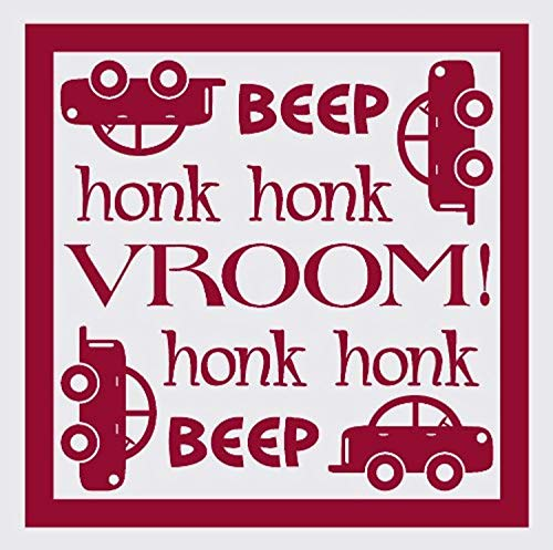Beep Honk Vroom with Car Red Wall Decals Decor Vinyl Sticker SK15874 ()