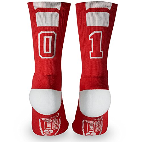 Basketball Team Socks (Custom Team Number Crew Socks | Athletic Socks by ChalkTalkSPORTS | Red | 01)