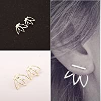 Fashion Design Hollow Out Lotus Flower Stud Earrings Simple Metal Ear Jewelry