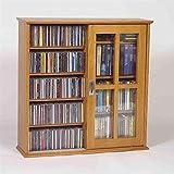 Leslie Dame Mission Wall Hanging Double-Width Sliding Door CD,DVD Multimedia Cabinet in Oak