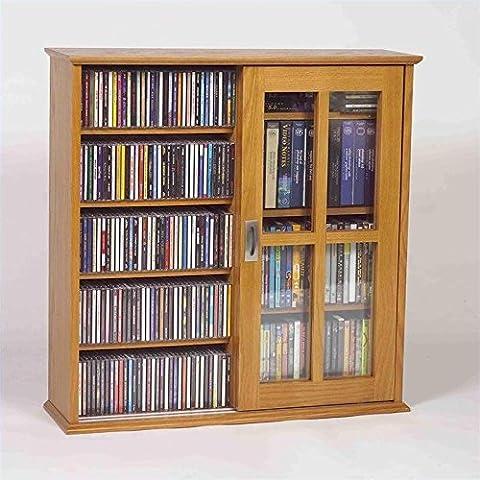 Leslie Dame Mission Wall Hanging Double-Width Sliding Door CD,DVD Multimedia Cabinet in Oak (Cd Cabinet Mission)