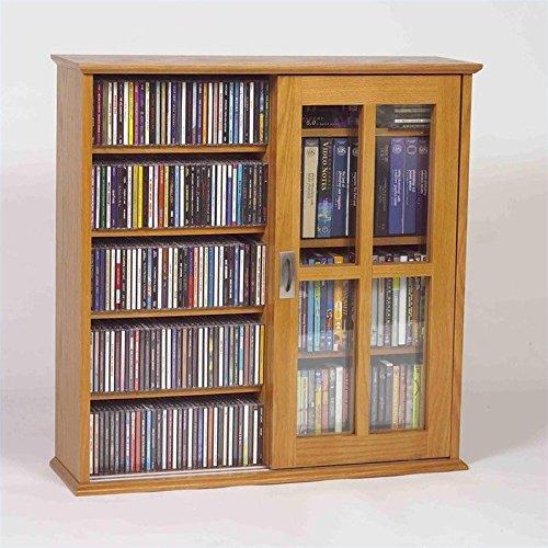 Leslie Dame Mission Wall Hanging Double-Width Sliding Door CD,DVD Multimedia Cabinet in Oak by LDE LESLIE DAME