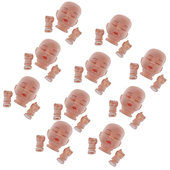 10pcs 7cm Sleeping Baby Doll Head DIY Key Chains Keyrings Charming Pendant