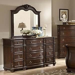 homelegance hillcrest manor marble top dresser w mirror in rich cherry kitchen. Black Bedroom Furniture Sets. Home Design Ideas