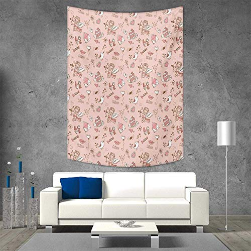 (smallbeefly Angel Beach Throw Blanket Doodle Cupid Cake Birds Dove Locked Hearts Flowers Valentines Celebration Vertical Version Tapestry 60W x 80L INCH Blush Pale Pink Umber )