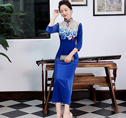 Luck Femme Robe Longue Style Chinois Cheongsam Qipao 3/4 Manches en Velours