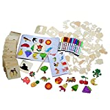 120PCS Drawing Stencil Tool Kit Set with Watercolor Brush Wood Chip Stencils Reference Drawing Pencil for Kids Boys Girls Home School Random Pattern