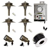 Lightkiwi Q1678 Low Voltage LED Landscape Lighting Kit - (2) Macro Spotlight (4) Path Light Kit