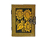 Leather Journal Embossed Celtic Flower Leaves Design Bound Pocket Diary gift book Of Shadow Yellow With Black Dairy ( 7 Inch )