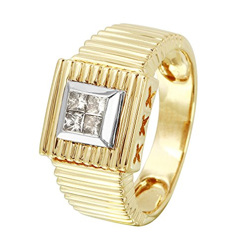 0.25 Carat Natural Diamond 14K Two Tone Gold Engagement Ring for Women Size (0.25 Ct Invisible Setting)