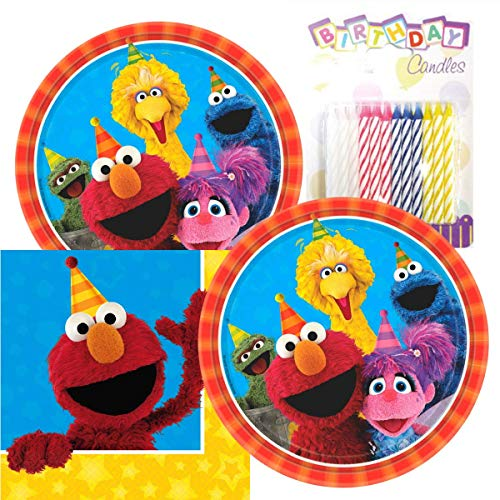 Sesame Street Party Plates and Napkins Serves 16 With Birthday Candles ()