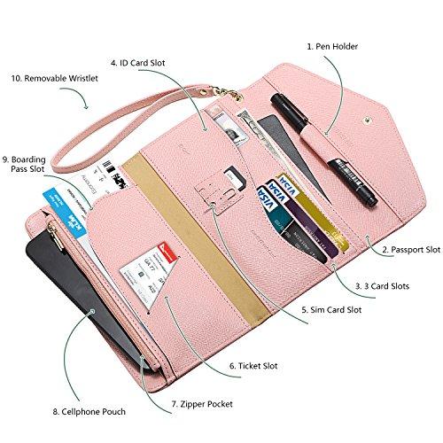 Krosslon Travel Passport Wallet for Women Rfid Wristlet Slim Family Document Holder, 205 Pastel Pink by KROSSLON (Image #1)