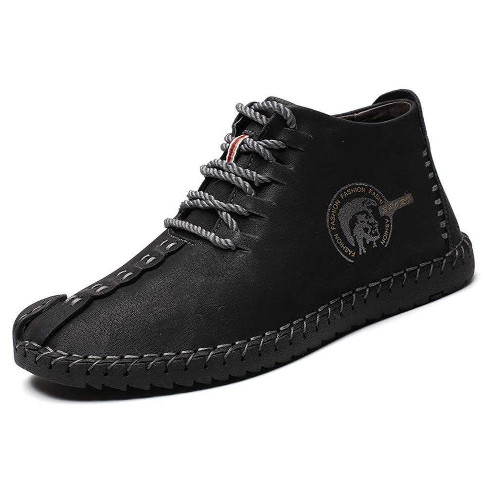 uirend Cuero Zapatos Hombre - Mocasines Oxfords Zapatillas Zapato Negocio Vestir Espacio de Trabajo Cuero Partido Casuales Bajos de Bandas Negro (Negro,43 EU =Etiqueta 44 CN)