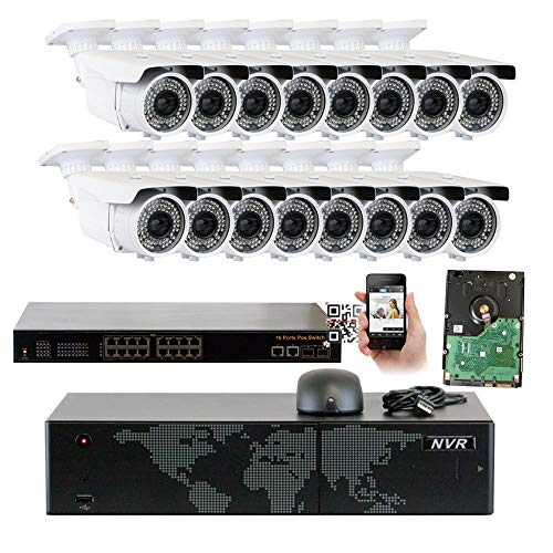 16 Channel 4K NVR PoE IP 5MP 2592x1920p Security Camera System – 16 x HD 2.8 12mm Varifocal Zoom 196ft IR IP Camera – 5 Megapixel 3,000,000 More Pixels Than 1080P, 300 More Detailed Than 720P