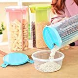 Kurtzy Cereal Dispenser Storage Jar Box Container Bin With Lid For Kitchen Food Rice Pasta Nuts Grains 1500ml 3 Sections 9X12X23cm 1 Pc