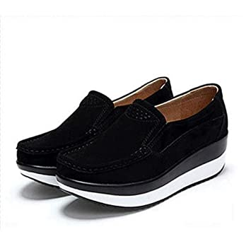 cf3a6a3041175 Amazon.com: August Jim Women Loafers Shoes,Slip On Suede Leather ...
