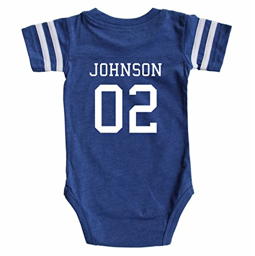 (Custom Football Baby Bodysuit Personalized with Name and Number (3-6M (6M), Vintage Royal))