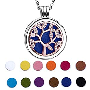 925 Sterling Silver Rose Gold Plated CZ Life Tree Essential Oil Diffuser Locket Necklace