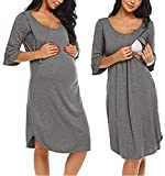 Ekouaer Womens Modal Maternity Dress Ruffle Sleeve Curved Hem Nursing/Breastfeeding Nightgown Dress ,Light Grey-8970 ,X-Large