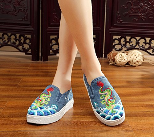 AvaCostume Women Dragon Embroidery Chinoiserie Flats Slip-on Loafer Sneaker Shoes Blue uOWw0