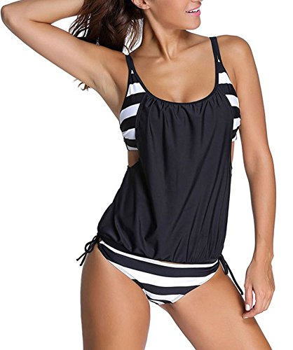 IYISS Women's Sexy Striped Belly Hidden Tankini Swimsuit Set (M, Black N White)
