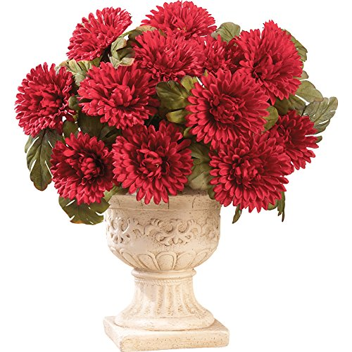 Floral Mums Artificial Maintenance-Free Flower Bush - Set of 3, (Three Red Mums)