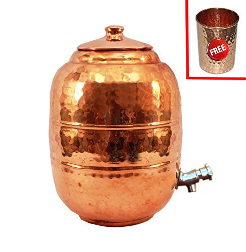 Rastogi Handicrafts Hammered Pure Copper 6.5 ltr. Water Pot Storage Tank - Tumble With Tap Kitchen Home Garden by Rastogi Handicrafts (Image #4)