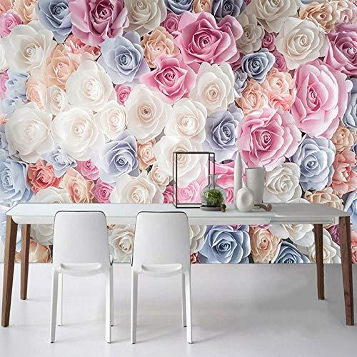Custom Waterproof Canvas Mural Wallpaper Modern Rose Flowers