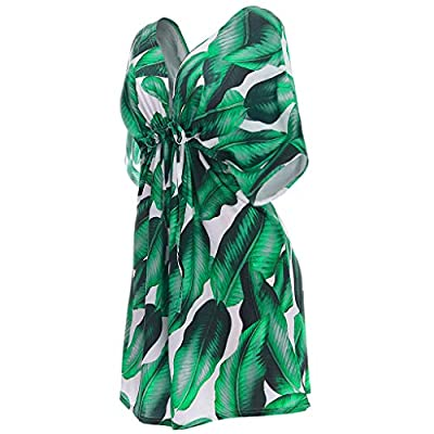 Women's Dresses V Neck Backless Short Sleeve Palm Floral Print A Line Pleated Beachwear Sundress for Ladies at  Women's Clothing store