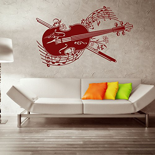 Spring Melody Violin Wall Decal by Style & Apply - Music Wall Sticker, Musical Vinyl Wall Art, Home Decor, Melody Wall Mural - 3764 - Brown, 39in x (62 Violin Bass)