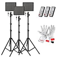 Emgreat® 3 set of Aputure HR672S High CRI95+ LED Video Light Photography Video Light Panel Studio Lighting Kit with Wireless Remote Control and 2M(6.5ft) Light Stand