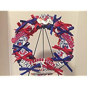 COLLEGE PRIDE - SPIRIT - FS - FRESNO STATE UNIVERSITY - BULLDOGS - VICTOR BULLDOG - DORM DECOR - DORM ROOM - COLLECTOR WREATH - BLUE DAHLIA AND RED CARNATIONS 97