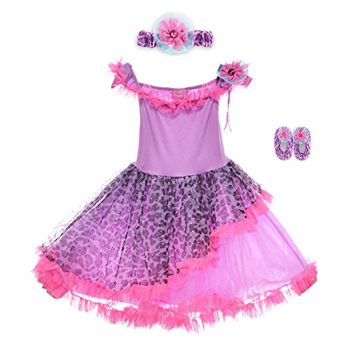 [HBB Kids Little Girl's Dress Up Trendy Sassy Princess Dance Tutu with Headband & Shoes, SZ 3-5, Purple] (Cute Costumes For Dance)