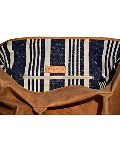 The Aartisan 21'' Handcrafted Genuine Leather Duffel Bag for Men Travel Weekend Bag (Chestnut), Free Gift Included, Multi Purpose Use by THE AARTISAN (Image #3)