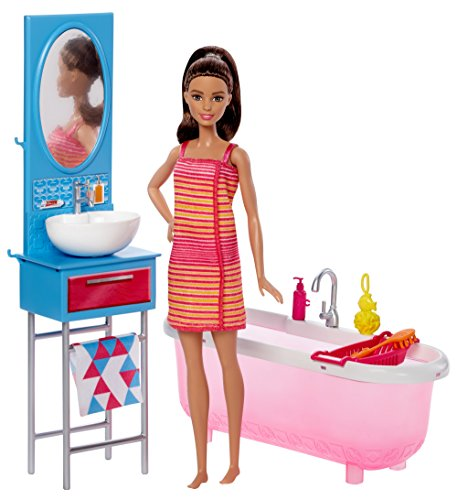 Barbie Bathroom & Doll - Bathroom Vanity Dollhouse