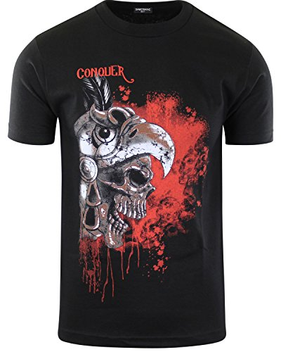(ShirtBANC Original Mexican American Inspired Mens Shirts (Conquer Skeleton Aztec Warrior, 2XL))